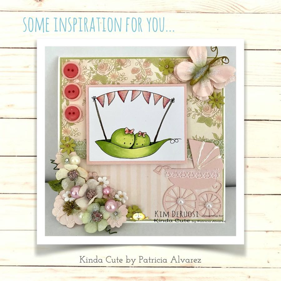 Two peas and a garland digital stamp by Kinda Cute by Patricia Alvarez