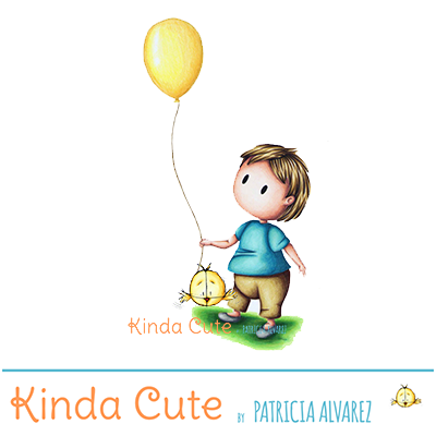 baby with balloon digital stamp