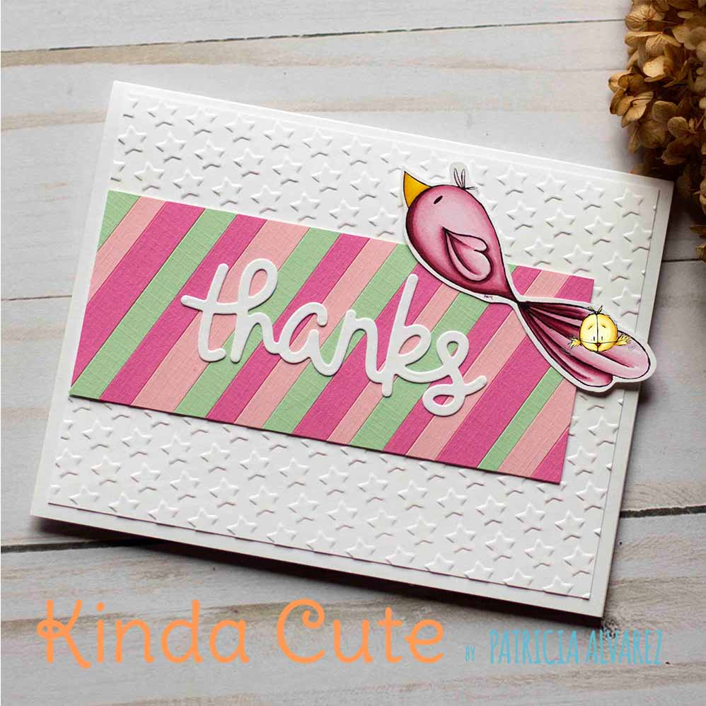Handmade thank you card using lovebird digital stamp